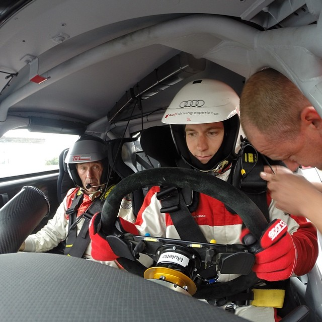 Last instructions before driving a real I-shit-my-pants-racecar! Thank you Audi for this!