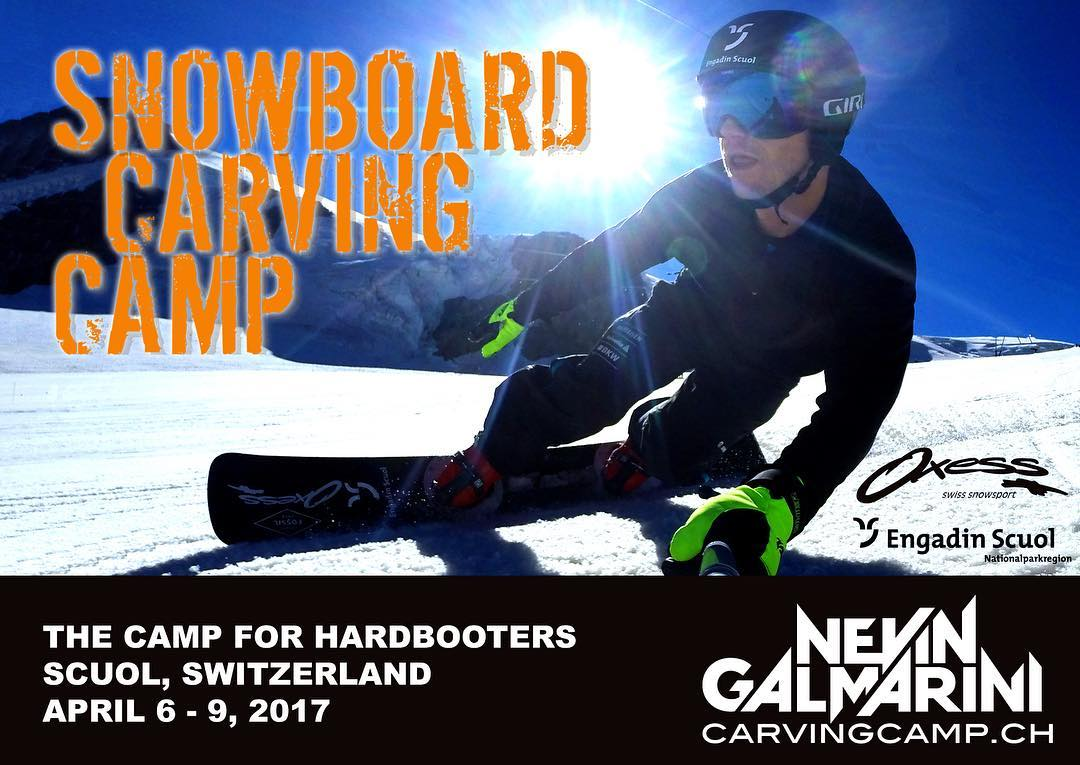 The Snowboard Carving Camp 2017 is ready for you! It's already the 6th edition where you can ride and learn from Worldcup professionals  Date: April 6 - 9, 2017 Location: Scuol, Switzerland Details on: www.carvingcamp.ch