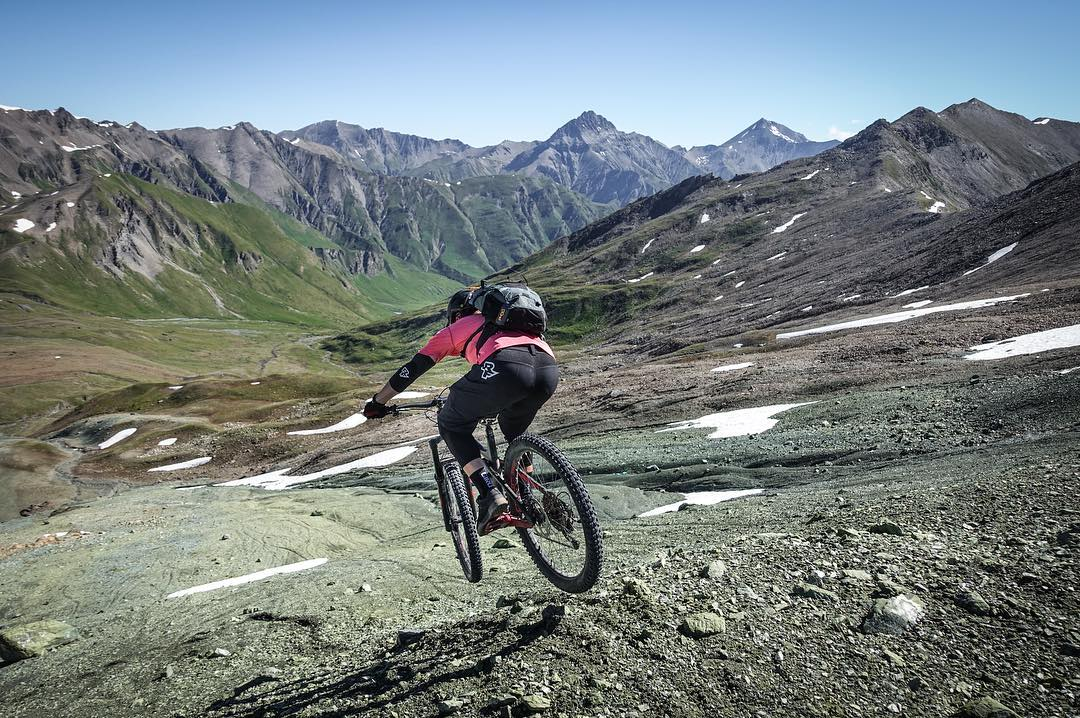 Dropping into one of the best biketrails in @engadinscuol It's wild, remote and technical. Champatsch - Zuort - Val Sinestra